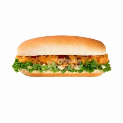 Knusprig paniertes Hähnchen in Hot Dog Brötchen Y14